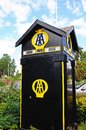 Old automobile association phone box eardisland black and yellow herefordshire england uk western europe Stock Photography