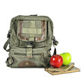 Old backpack apples and books over the white Royalty Free Stock Image