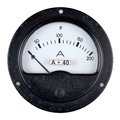 Old bakelite case ammeter with and white scale photographed on a white background Stock Photo