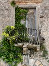 Old balcony in tuscany historic house with and plants italy Royalty Free Stock Photo