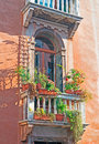 Old balcony in a venice colorful building Royalty Free Stock Photo