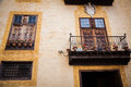 Old balcony and windows in La Orotava Royalty Free Stock Photo