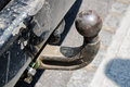 Old ball car hook conected to rusty chassis Royalty Free Stock Photo