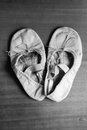 Old ballet shoes a worn out pair of children s Stock Image