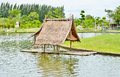 Old bamboo raft with the hut Royalty Free Stock Photo