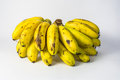 Old bananas isolated yellow on white backgrounds Royalty Free Stock Image