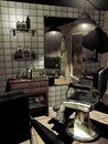 Old barber shop interior of an with ancient furniture fashioned chairs and an radio through the glasses of the window and Royalty Free Stock Images