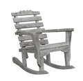 Old bare wooden rocker isolated rustic unpainted gray wood rocking chair on white Royalty Free Stock Photo