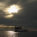 The old barge before the storm russian north lake onega Royalty Free Stock Photos