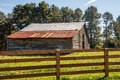 Old Barn Beyond Rail Fence Royalty Free Stock Photo