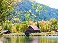Old barn by the lake in autumn near lake city colorado Stock Photography