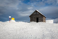 Old barn in madonna di campiglio ski resort italian alps italy Stock Photo