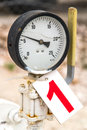 Old barometer on number one label with depth of field Royalty Free Stock Photo