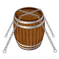 Old barrel there is with chain Stock Image