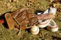 Old baseball equipment Royalty Free Stock Photo
