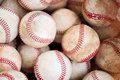 Old baseballs group of in a pile Stock Photos