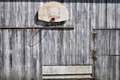 Old basketball hoop on barn Royalty Free Stock Photo