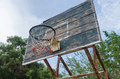 Old basketball hoop on a blue sky and forest Royalty Free Stock Photos