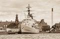 Old battle ship in Copenhagen, Denmark Royalty Free Stock Photo