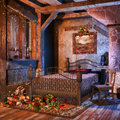 Old bedroom with presents vintage christmas and candles Royalty Free Stock Photos