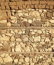 Old beige stone wall background texture, close up. Ancient wall made out of stones and bricks. Textures and background Royalty Free Stock Photo