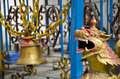 Old bell and dragon head in asia temple, Nepal Royalty Free Stock Photo