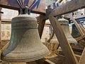 Old bells in a church tower Stock Photo