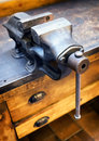 Old bench vise at a workshop Royalty Free Stock Photography