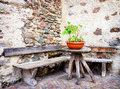 Old bench wooden at a backyard Royalty Free Stock Photography