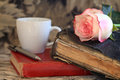 Old Bible and a Pink Rose Royalty Free Stock Photo