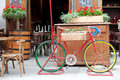 Old bicycle carrying flowers colorful street cafe in lvov city Stock Image