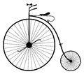 Old bicycle illustration of the silhouette of an vintage isolated on white background Stock Images