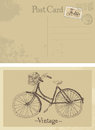 Old bicycle vintage postcard design card Stock Photography