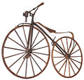 Old bicycle wooden with pedals used years of the th century Stock Photo