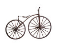 Old bicycle with wooden wheels isolated Royalty Free Stock Photo