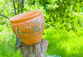 An old big clay pot outdoor Royalty Free Stock Photo