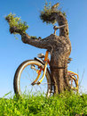 Old bike chained to the tree for security ecology nature themes Royalty Free Stock Images