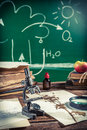 Old biology lesson in classroom retro style Royalty Free Stock Images