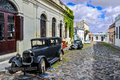 Old black automobile in Colonia del Sacramento, Uruguay