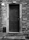 Old Black Door With Faded And ...