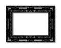 Old black frame decorative carved wood isolated on white Royalty Free Stock Photo