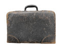 Old black leather suitcase isolated and worn small textured on white Royalty Free Stock Image