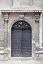 Old black metallic door church Royalty Free Stock Images