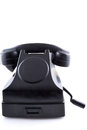 Old black vintage telephone white background with rotary dial on Stock Photo