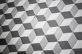 Old black and white tiling on floor cubic pattern the Royalty Free Stock Photos