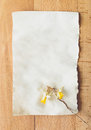 Old blank piece of paper with dried flower lying on wooden desk Royalty Free Stock Photo