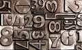 Old block numbers brushed metallic letters Royalty Free Stock Photography