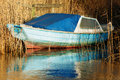 Old blue boat Royalty Free Stock Photo