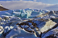 Old Blue Glacial Ice, Svinafellsjokull Glacier, Skaftafell, Iceland. Royalty Free Stock Photo