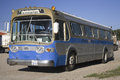 Old blue GM bus Stock Photography